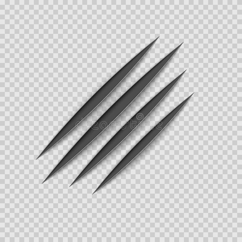 Pista animal del rascado del rasguño de las garras negras Forma de la pata de los rasguños del gato o del tigre Rastro de cuatro  stock de ilustración