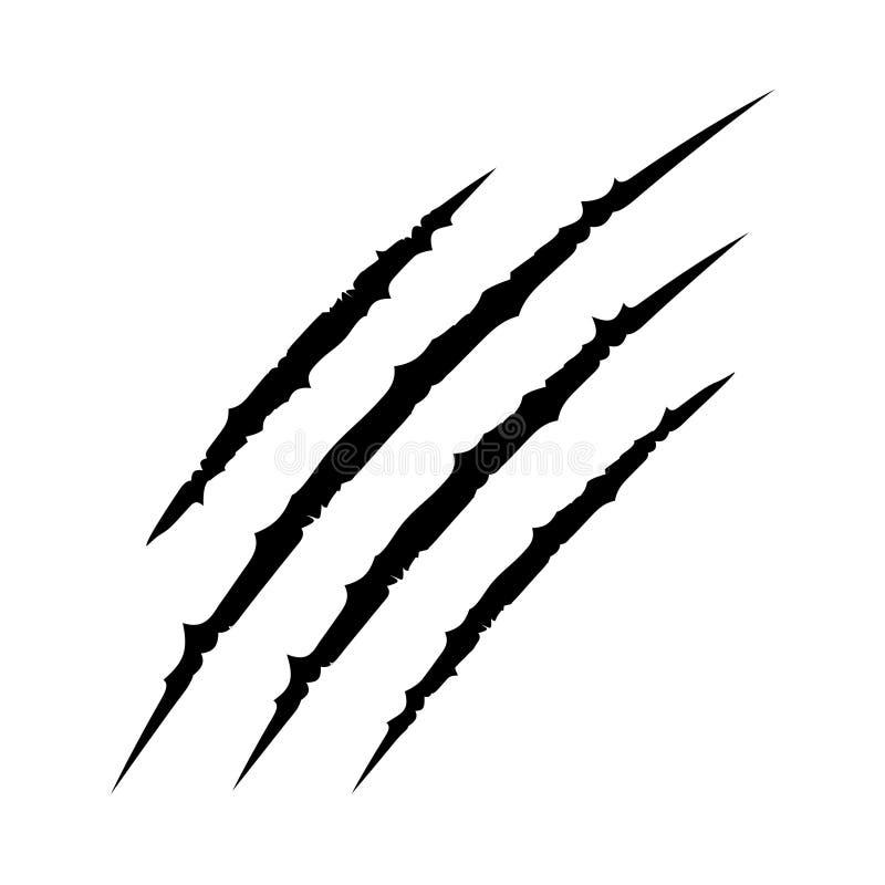 Pista animale della raschiatura del graffio degli artigli sanguinosi neri La tigre del gatto graffia la forma della zampa illustrazione vettoriale