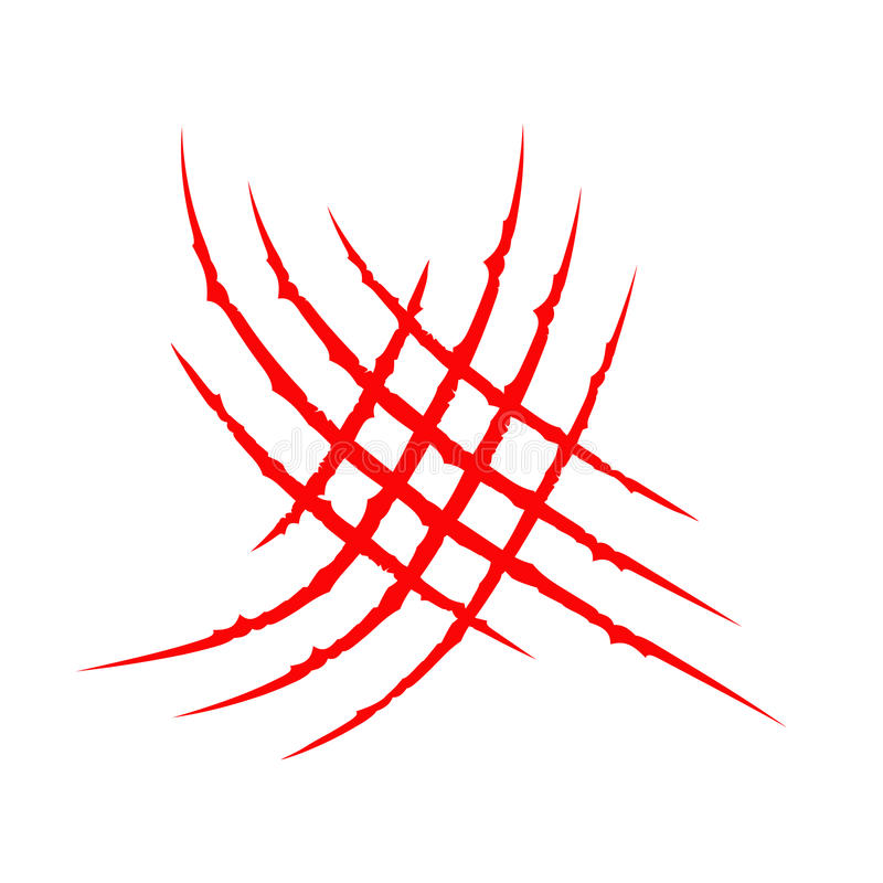 Pista animale della raschiatura del graffio degli artigli sanguinosi rossi trasversali di Criss Il dinosauro della tigre del gatt royalty illustrazione gratis