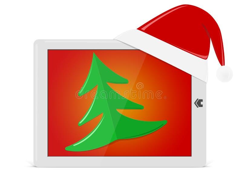 Pista brillante con el árbol del sombrero y de Navidad de Santa. Como la PC del ipade ilustración del vector