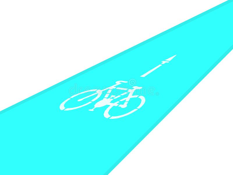Pista ciclabile, bicicletta e freccia della direzione, isolate royalty illustrazione gratis