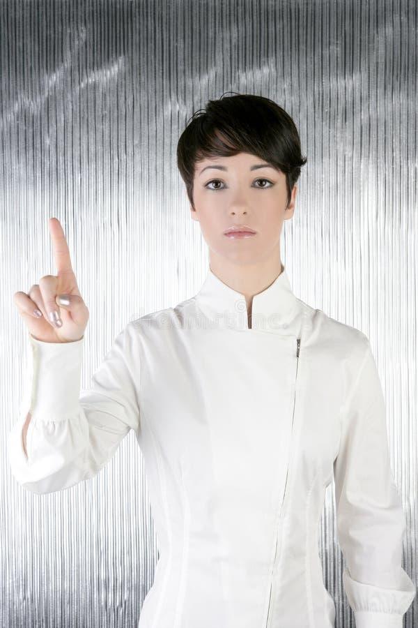 Pista conmovedora del dedo futurista de la empresaria fotografía de archivo libre de regalías
