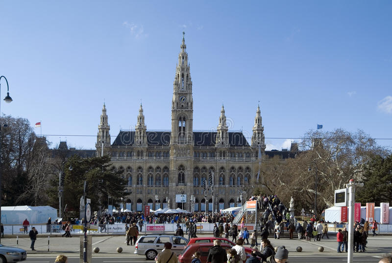 Pista de Áustria, de Viena, de townhall e de gelo imagens de stock royalty free