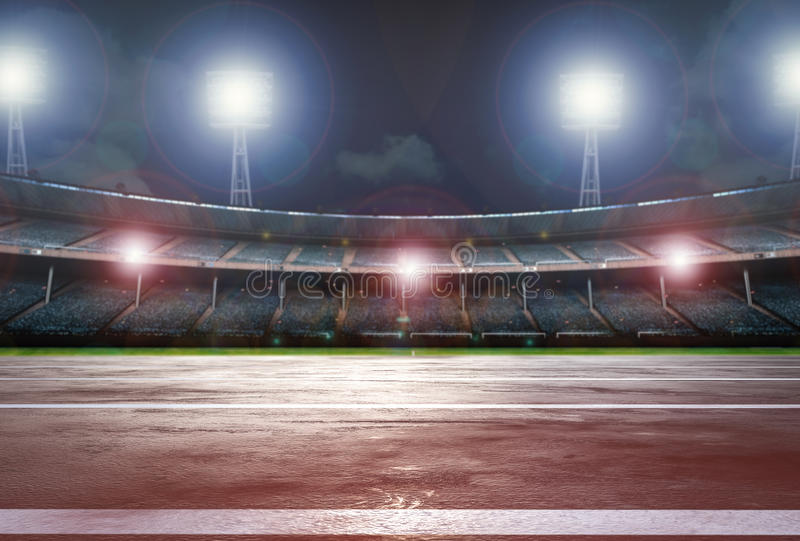 Pista de atletismo com estádio ilustração do vetor