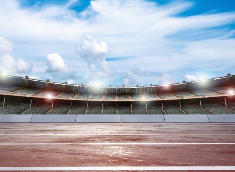 Pista de atletismo com estádio ilustração royalty free