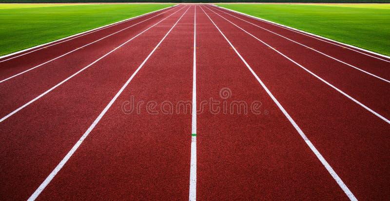 Pista de atletismo nova com sumário da grama verde, textura, fundo. foto de stock royalty free