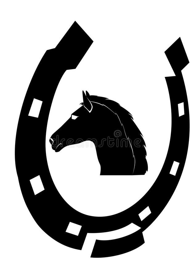 Pista de caballos de herradura y negra stock de ilustración