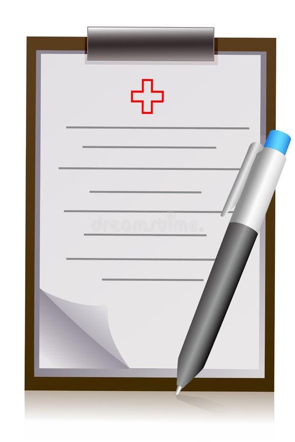 Pista de carta del doctor con la pluma ilustración del vector