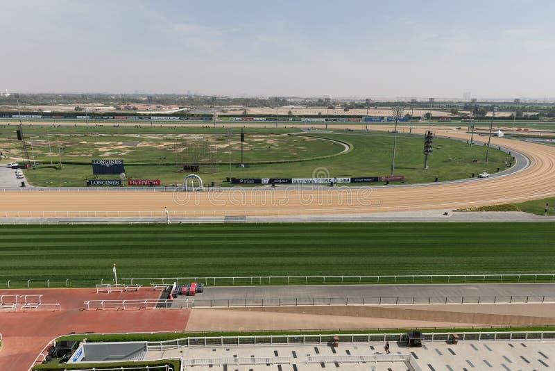 Pista de corridas de Meydan em Dubai, Emiratos Árabes Unidos fotografia de stock royalty free