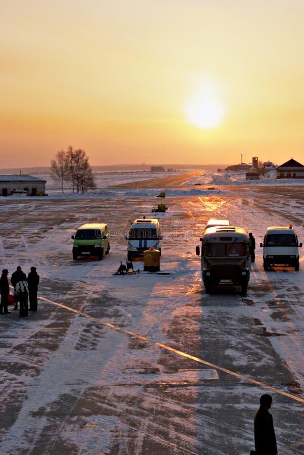 Pista de decolagem do aeroporto de Irkutsk. imagens de stock