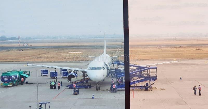 Pista de decolagem do aeroporto de Indore foto de stock