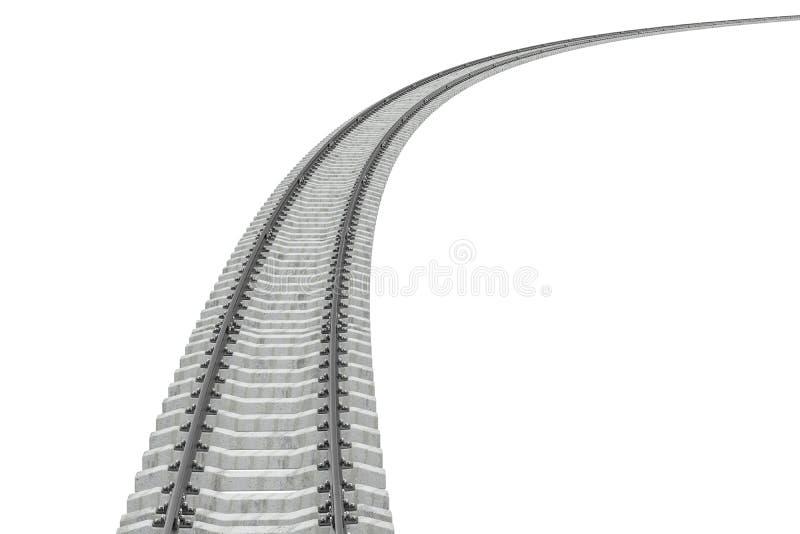 Pista de ferrocarril curvada representación 3d ilustración del vector