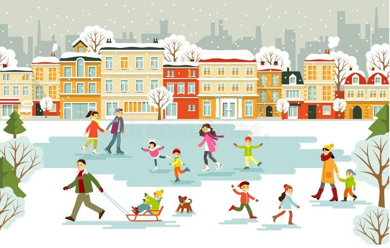 Pista de gelo com os povos diferentes no fundo da cidade ilustração stock