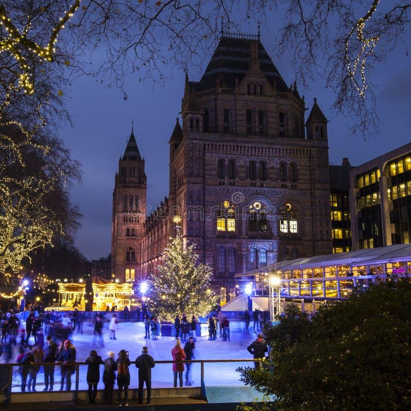 Pista de gelo do Natal no museu da história natural em Londres imagem de stock royalty free