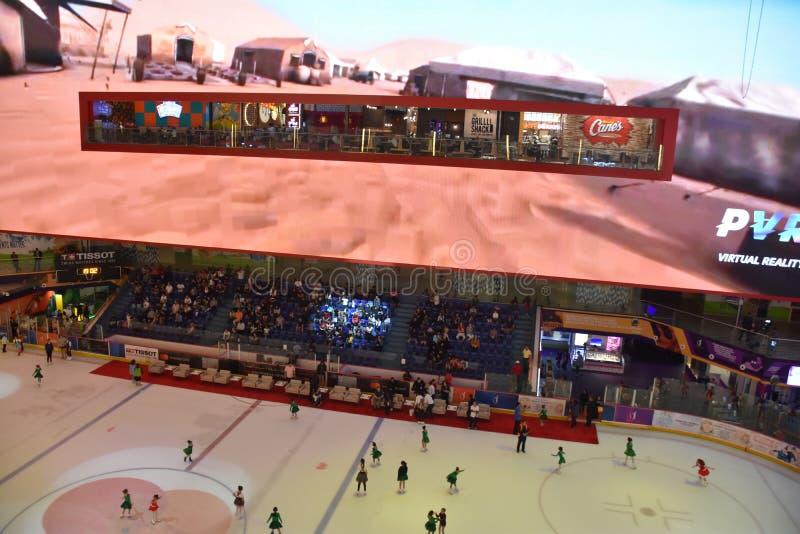 Pista de gelo na alameda de Dubai em Dubai, UAE imagem de stock