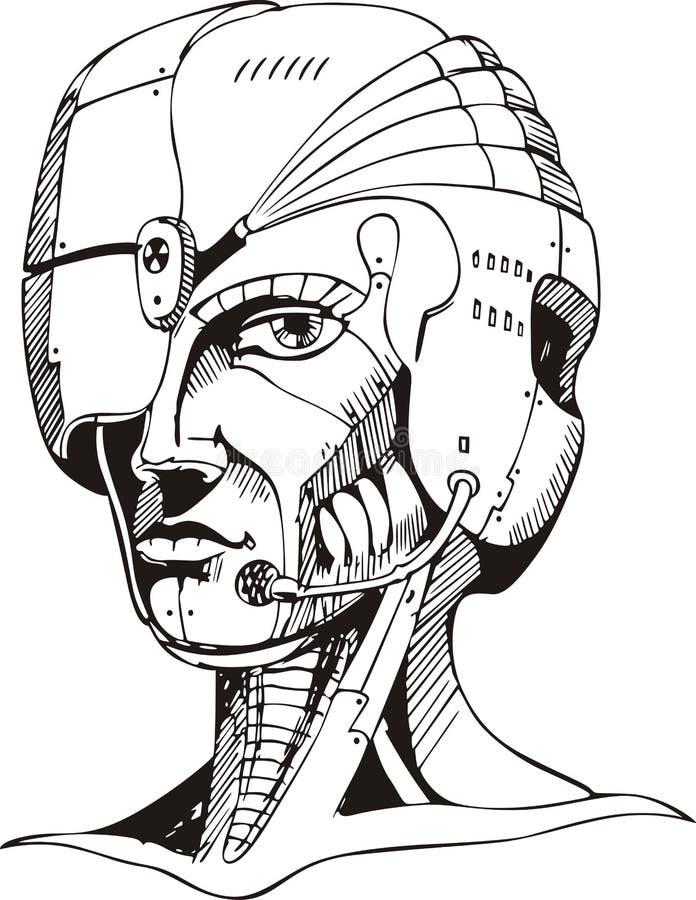 Pista de la mujer del cyborg ilustración del vector