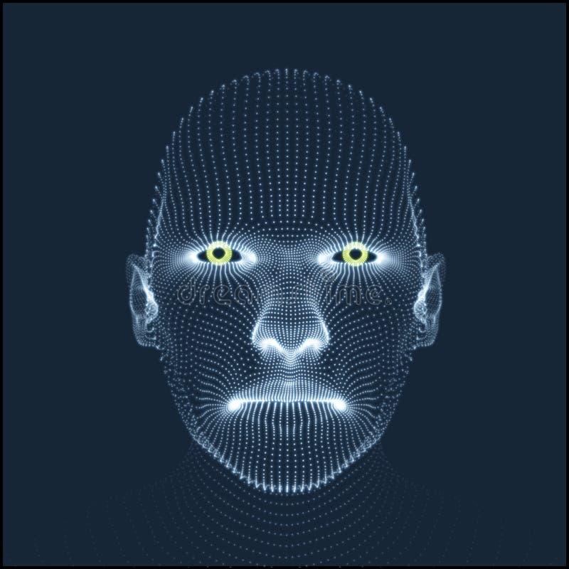 Pista de la persona de una red 3d Modelo de la cabeza humana Exploración de la cara Vista de la cabeza humana diseño geométrico d stock de ilustración