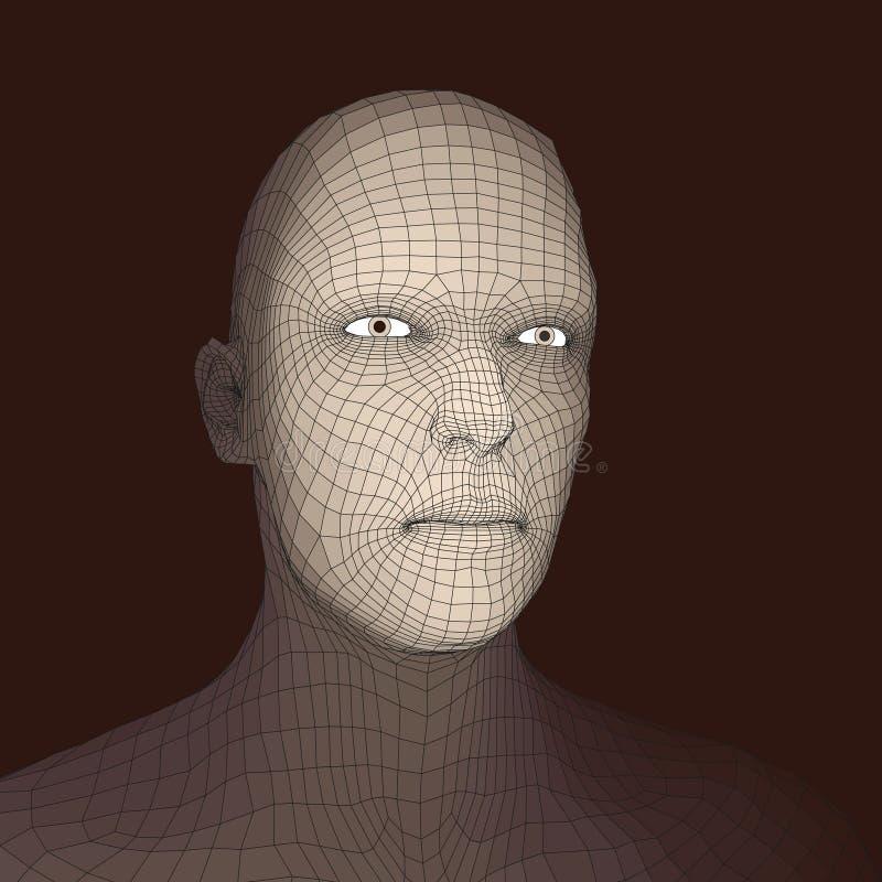 Pista de la persona de una red 3d Modelo del alambre de la pista humana Cabeza humana del polígono Exploración de la cara Vista d stock de ilustración