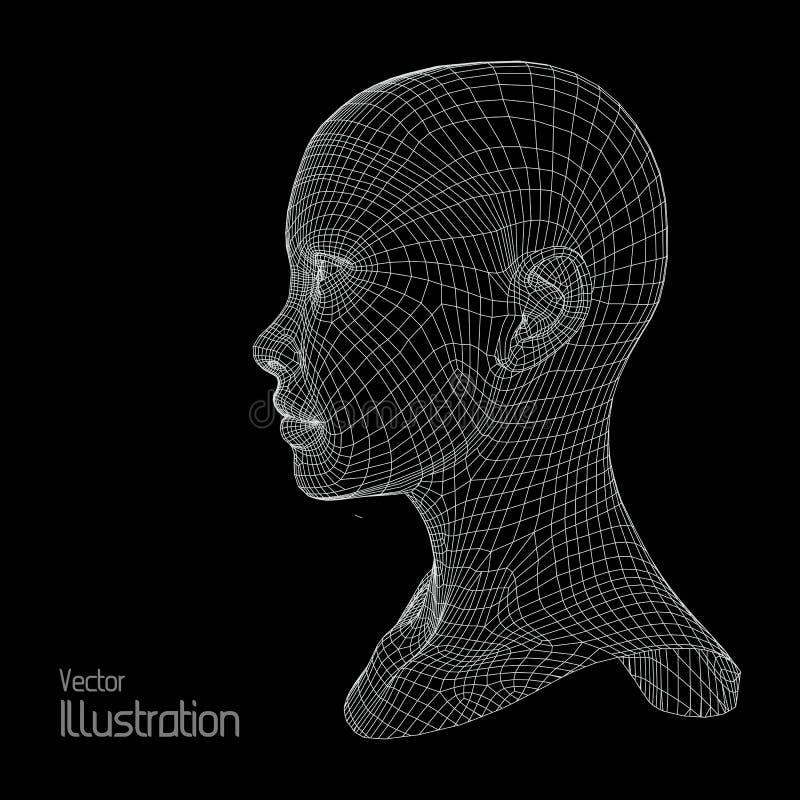 Pista de la persona de una red 3d Modelo humano del alambre polígono Exploración de la cara Ver Diseño geométrico poligonal libre illustration