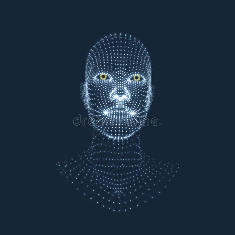 Pista de la persona de una red 3d diseño geométrico de la cara 3D ilustración del vector