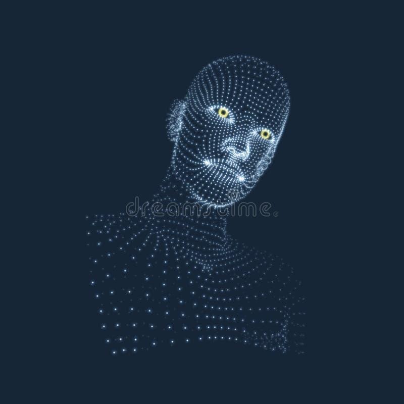 Pista de la persona de una red 3d Exploración de la cara Vista de la cabeza humana diseño geométrico de la cara 3D ilustración del vector