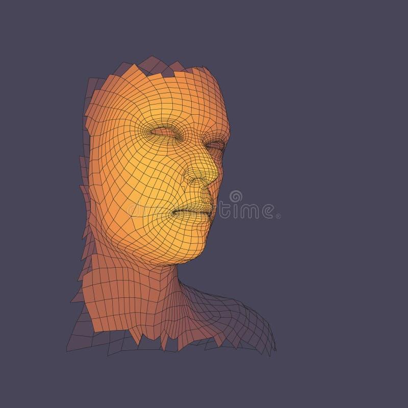Pista de la persona de una red 3d Vista de la cabeza humana libre illustration
