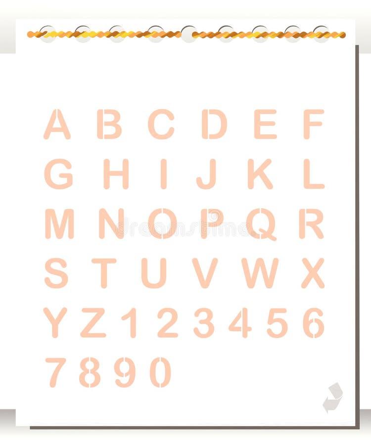 Pista de nota con alfabeto y números stock de ilustración