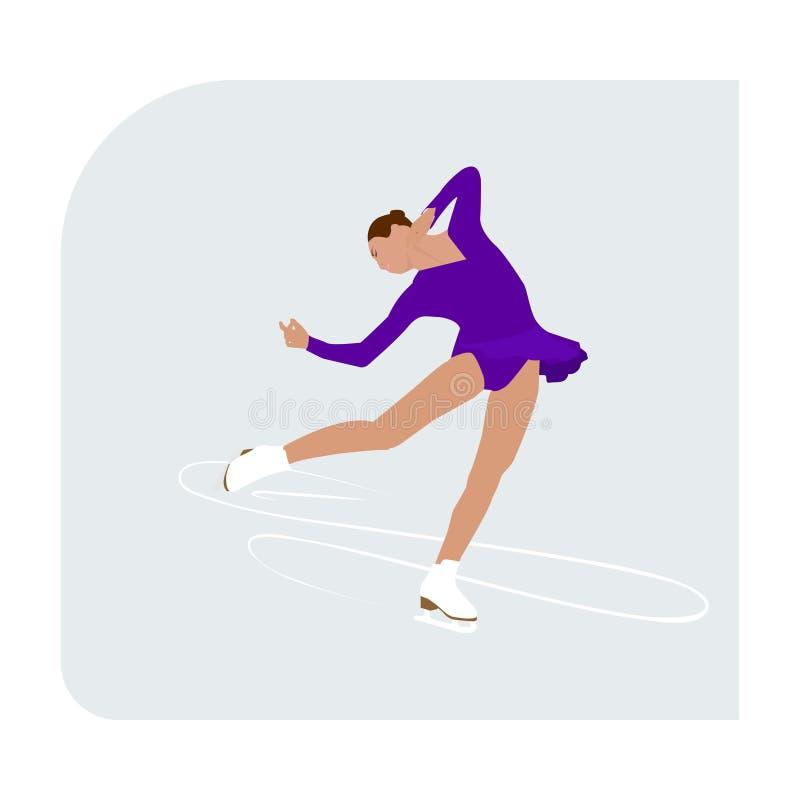 Pista de patinagem artística com a senhora da mulher do esporte de inverno do atleta do skater ilustração royalty free
