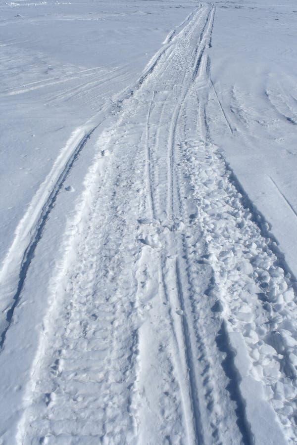 Pista de Skidoo en la nieve foto de archivo