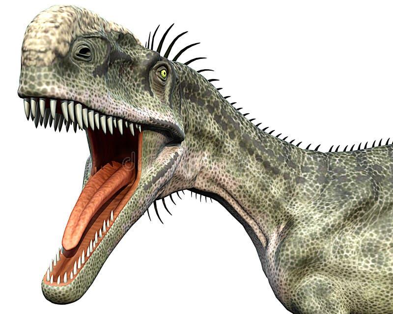 Pista del cierre de la cara de Monolophosaurus ilustración del vector