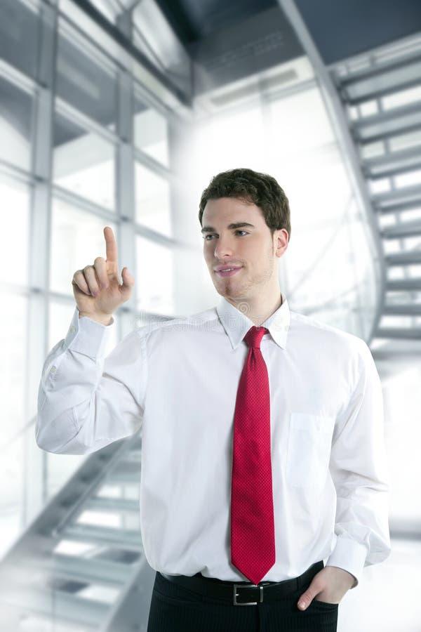 Pista del espacio de la copia del dedo del tacto del hombre de negocios foto de archivo