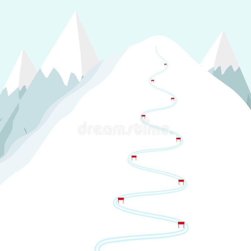 Pista del esquí de la historieta en la montaña de la nieve Rastro de esquí con las banderas Ejemplo plano del vector libre illustration