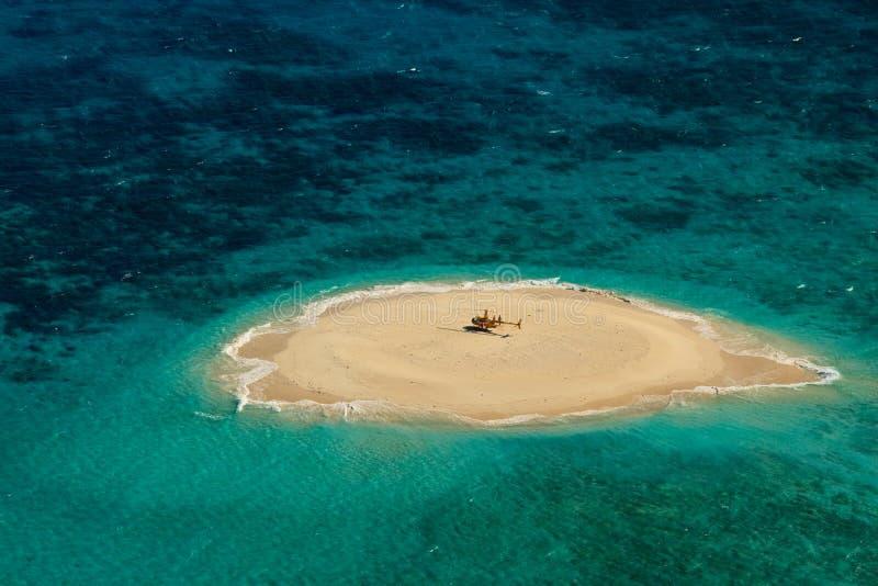 Pista del helicóptero del filón de barrera de la isleta de Upolu gran fotos de archivo