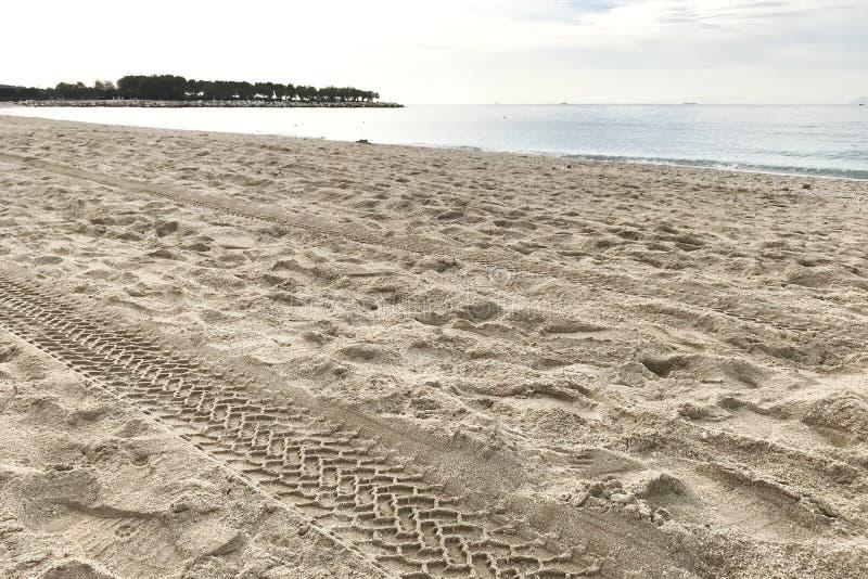 Pista del neumático en la arena por el mar, océano Cierre para arriba foto de archivo