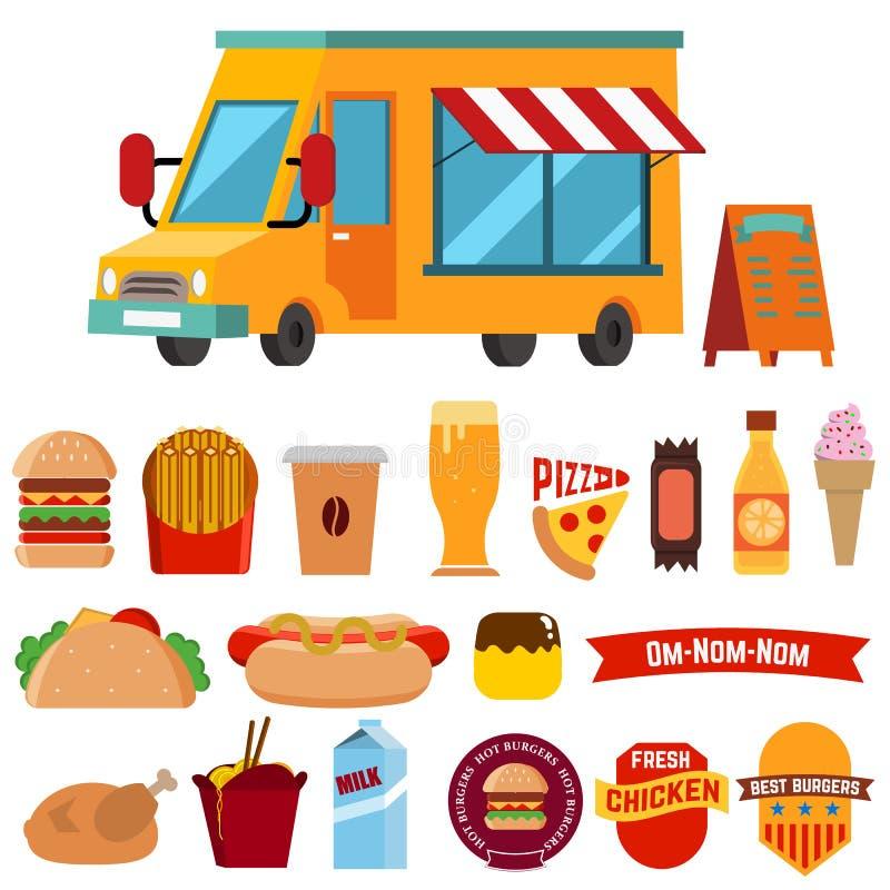 Pista dell'alimento con le icone dell'alimento illustrazione di stock