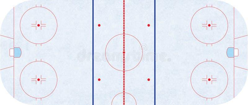 Pista di pattinaggio del hockey su ghiaccio - NHL di regolamento illustrazione di stock
