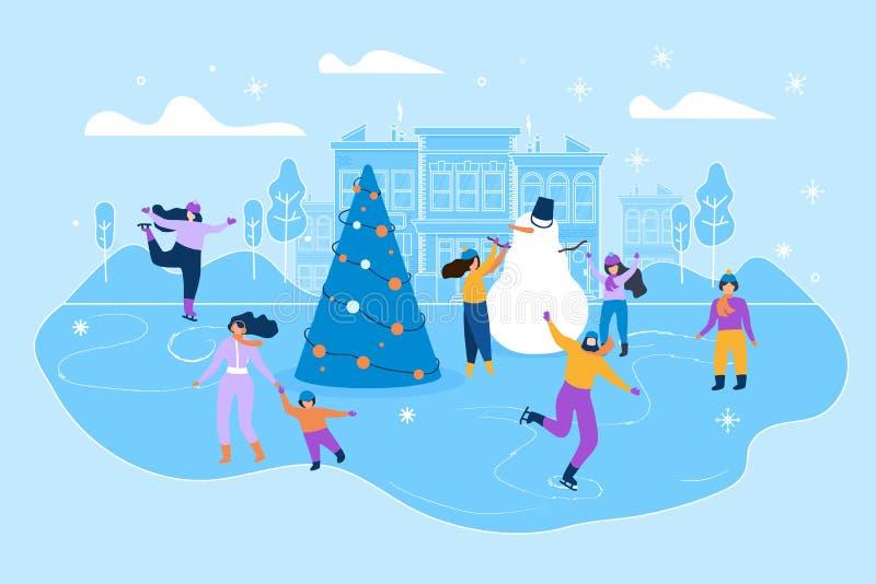 Pista di pattinaggio sul ghiaccio piana dell'illustrazione sulla grande via della citt illustrazione di stock