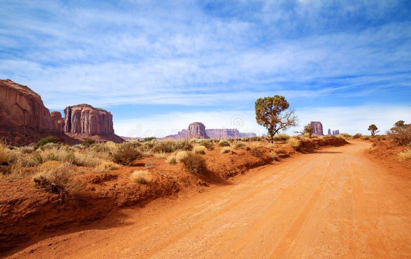 Pista di sporcizia nel deserto dell'Arizona fotografie stock libere da diritti