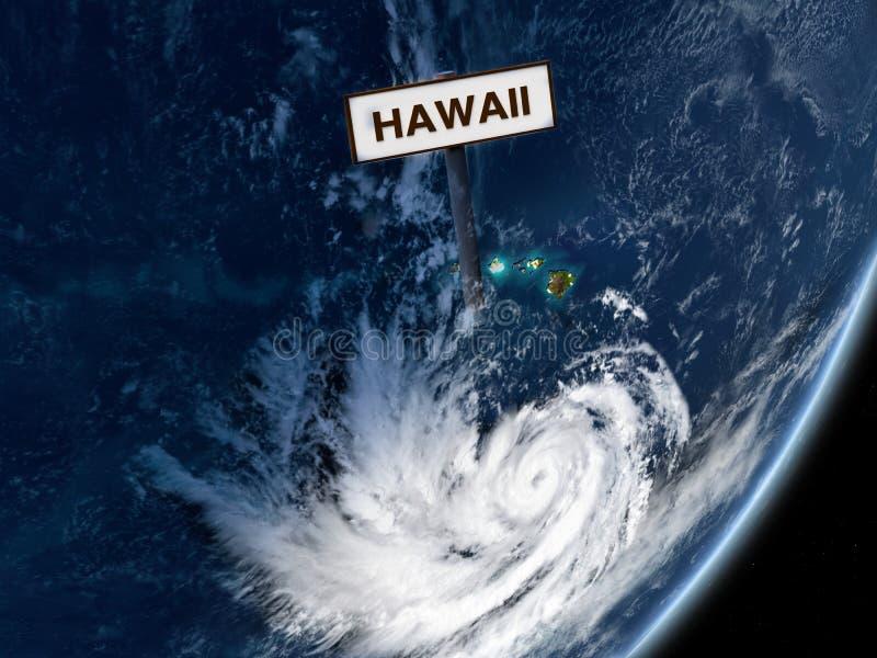 Pista do furacão em Havaí do espaço ilustração do vetor