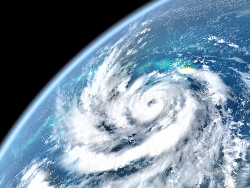 Pista do furacão no Oceano Pacífico ilustração do vetor