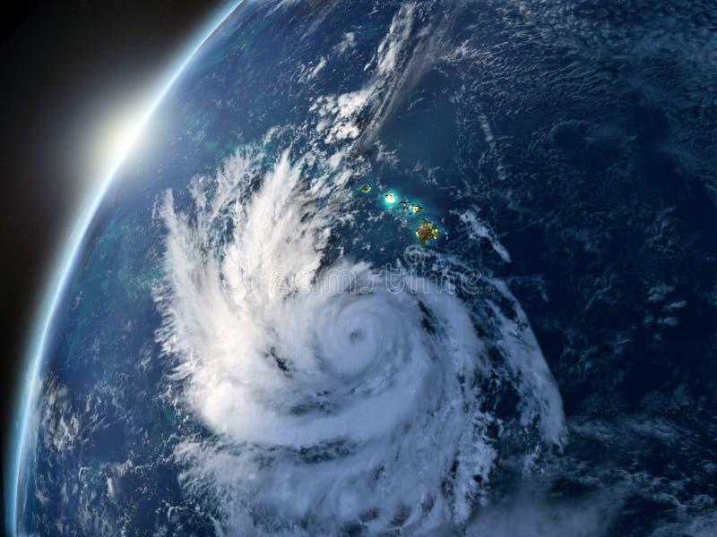 Pista do furacão no por do sol ilustração do vetor