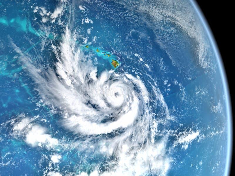 Pista do furacão que fecha-se em Havaí ilustração royalty free