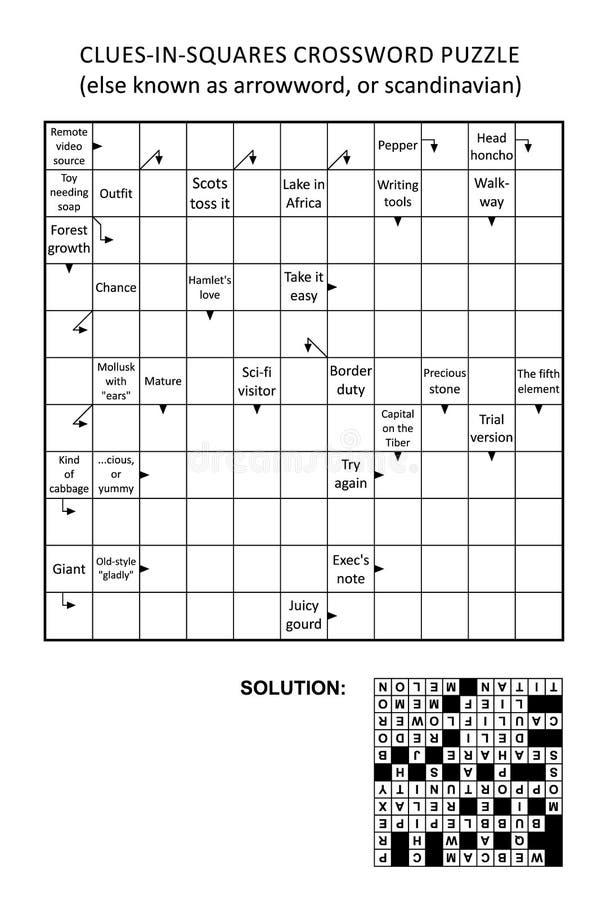 Pista-en-cuadrados de Arrowword, escandinavo, crucigrama del scanword ilustración del vector
