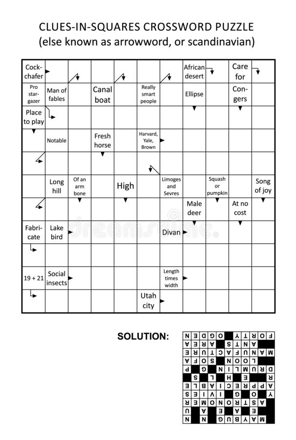 Pista-en-cuadrados de Arrowword, escandinavo, crucigrama del scanword libre illustration