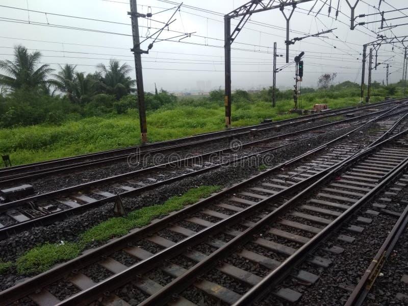 Pista ferroviaria india foto de archivo