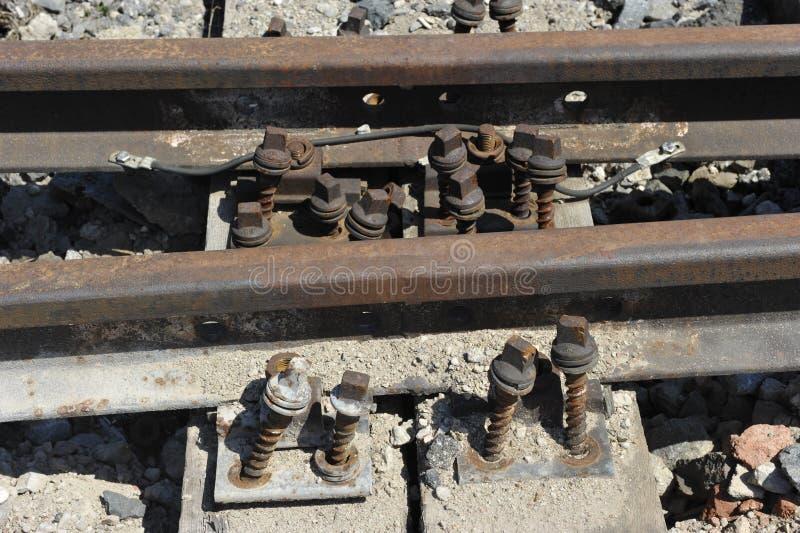 Pista ferroviaria oxidada imagen de archivo