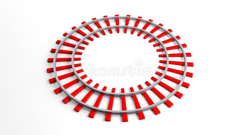 Pista ferroviaria roja redonda ilustración del vector