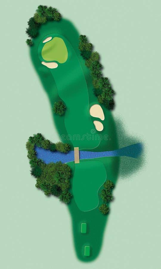Pista ilustrada do golfe ilustração stock