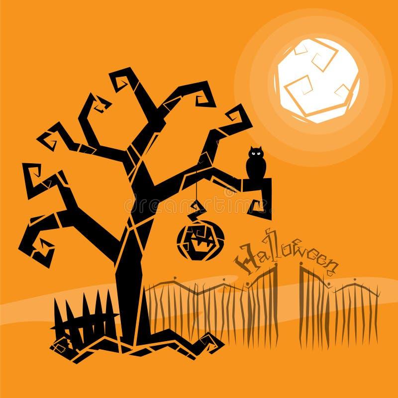 Pista mágica de Víspera de Todos los Santos y árbol asustadizo stock de ilustración