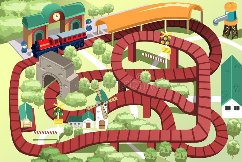 Pista miniatura del treno del giocattolo illustrazione di stock